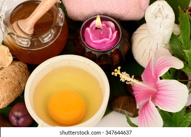 Face mask with Shoe Flower,Shoe Flower or hibiscus flowers, honey and eggs, spa skin from natural raw materials.