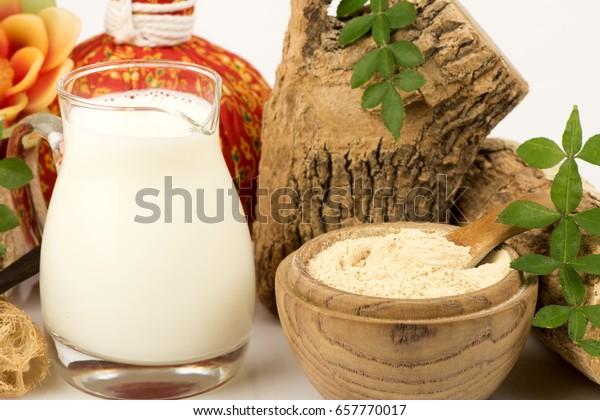 Face Mask Thanaka Powder Fresh Milk Stock Photo (Edit Now