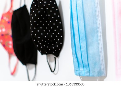 Face masks hanging on a hanger