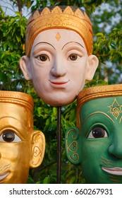 Face masks of Thai gods, mythological creatures