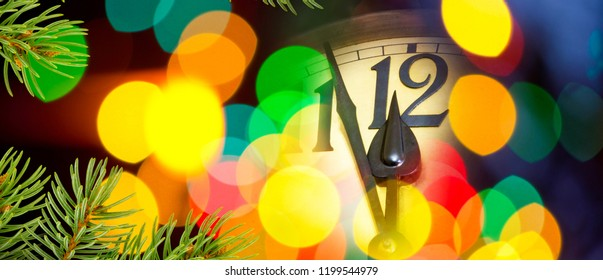 Face of new year clock with colored decoration.