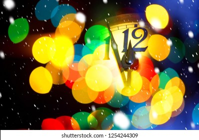 face of new year clock with colored decoration