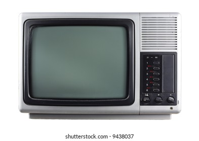face on view of retro silver television