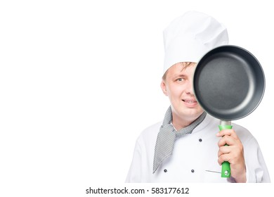 face pan and cook, and space to the left of the frame on a white background