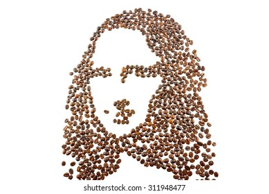A face / portrait / image of famous people (Mona Lisa like),arranged from coffee beans isolated on white background. Used as emotional decorated item.