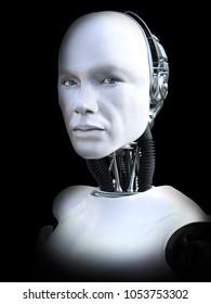 Face portrait of a male robot, 3D rendering. Black background.