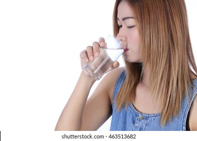 Face portrait of woman drinking water. Smiling girl. Isolated portrait. , white background.