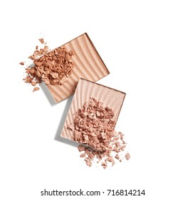 Face powder and bronzer isolated on white background