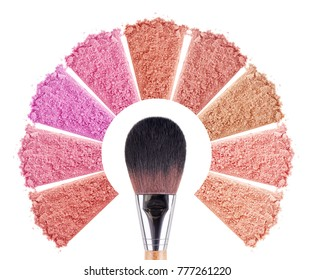 Face powder with brush. Smears of foundation for face. Cosmetic smear. Make up crushed powder. Isolated on white background