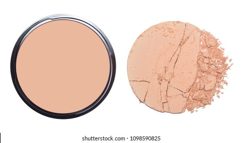 Face powder for make up isolated on white. Beige round cracked palette. Decorative cosmetic product