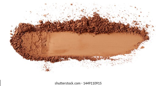 Face powder stroke isolated on white background, top view