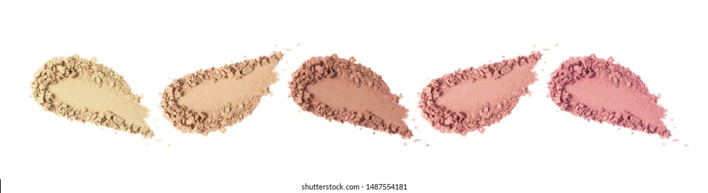 Face powder swatch. Foundation, blush, bronzer smudge set. Crushed eye shadow smear. Makeup powder texture