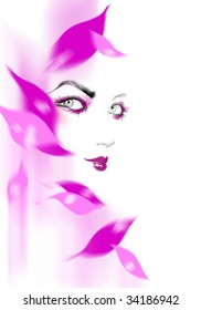 face with purple eye shadows magenta lipsticks and flower petals