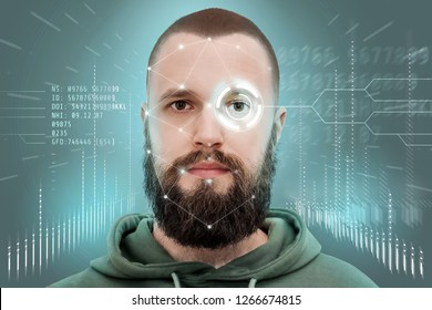 Face recognition and human recognition. The concept of computer vision and artificial intelligence. A man with a beard