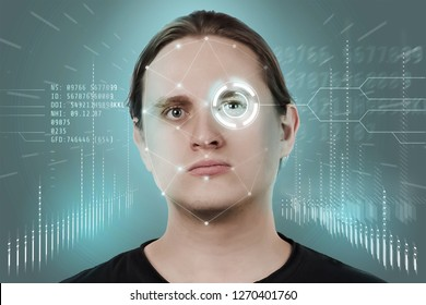 Face recognition and human recognition. The concept of computer vision and artificial intelligence.