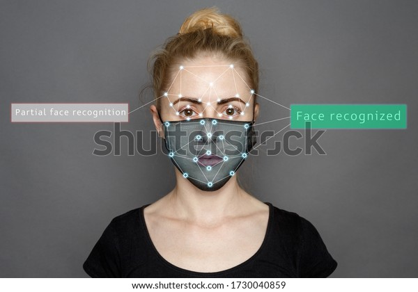 Face Recognition In Medical Mask Using Artificial Intelligence And Neural Networks. Biometric scanning Face ID. Identification of Person Through System Of Recognition. Polygon Vector Wireframe Concept