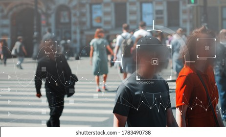 Face recognition and personal identification technologies in street surveillance cameras, law enforcement control. crowd of passers-by with graphic elements. Privacy and personal data protection,