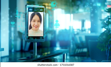 Face recognition scanner or temperature machine before enter and exit Disease Coronavirus (COVID-19). Security Technology And information on finding people. Concept New Normal