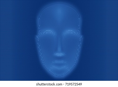 Face recognition technology in progress, 3d graphic generate