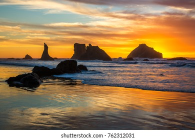 Face Rock and other sea stacks at sunset at Bandon beach on the southern Oregon Coast at Bandon.