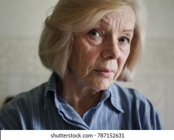 Face of a sad old woman
