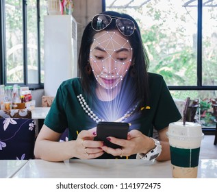 Face scan women smart phone and machine learning systems accurate biometric technology