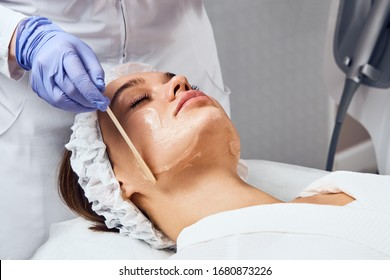 Face Skin Care. Close-up Of Woman Getting Facial Hydro Microdermabrasion Peeling Treatment At Cosmetic Beauty Spa Clinic. Hydra Vacuum Cleaner. Exfoliation, Rejuvenation And Hydratation. Cosmetology