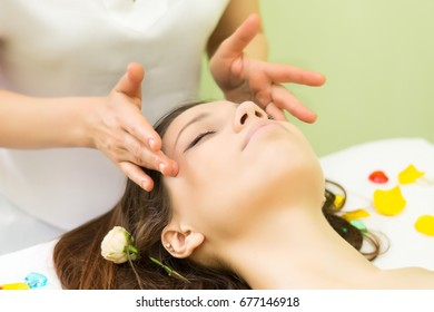 Face skin care. Spa treatment at beauty salon. Spa face massage.