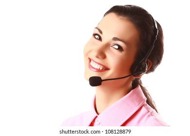 Face of smiling woman with headphones isolated