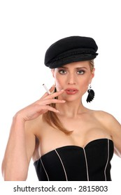Face and torso of stylish, attractive woman with cigarette