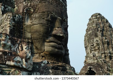 Face towers of Bayon temple , Siem Reap, Combodia.