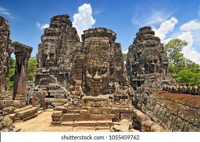 Face towers depicting Bodhisattva Avalokiteshvara, Bayon temple in Angkor, Cambodia.