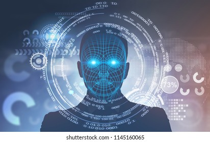 Face of an unrecognizable man with polygons on it. HUD against a blurred background. Toned image double exposure Elements of this image furnished by NASA