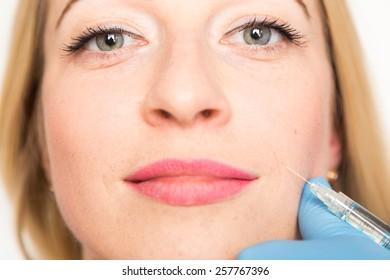 face, wrinkles, syringe