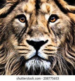 The face of young Asian lion with widely open eyes. King of beasts, biggest cat of the world. Blackened illustration in oil painting style. Great for user pic, icon, label, tattoo. Zodiac symbol.