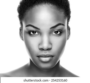 Face of an young black beauty in black and white