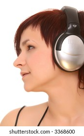 face of young girl in headphones