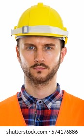 Face of young man construction worker
