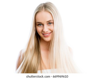 Face of young woman with ? beautiful long hair