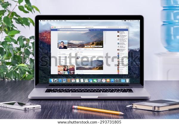 Facebook Timeline User Profile On Apple Stock Photo (Edit