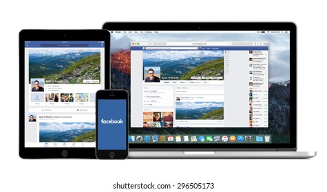 Facebook website on the Apple Macbook Pro display and Facebook apps on the iPad Air 2 and iPhone 5s screens. Isolated on white background. High quality. Varna, Bulgaria - February 02, 2015.