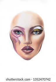 facechart fashion makeup model hand draw product cosmetics