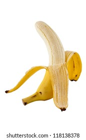 Faced peeling a banana isolated with clipping path