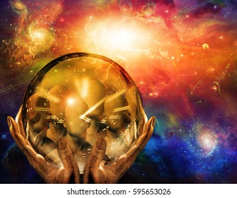 Faceless numbers seen in crystal ball    3D Render  Some elements provided courtesy of NASA