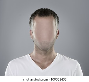 Faceless person portrait or real social media icon