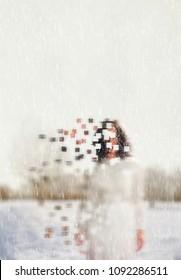 faceless women in a cold winter scene