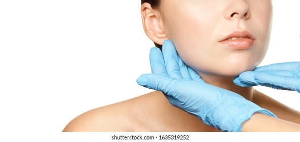 Facelift hydra treats. Esthetic skin care analysis. Doctor hands in gloves. medicine facial beauty exam. Symmetry consult. Cosmetology wrinkle specialist.