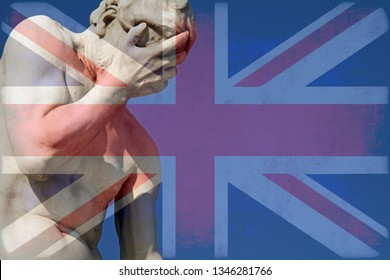 Facepalm and Brexit - Union Jack over a statue with its head in its hands
