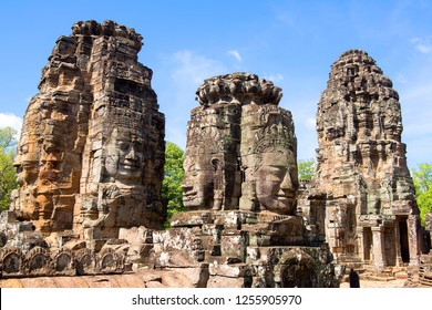 Faces of Bayon temple in Angkor Thom, Siemreap, Cambodia. The Prasat Bayon  is a richly decorated Khmer temple at Angkor , ancient architecture in Cambodia