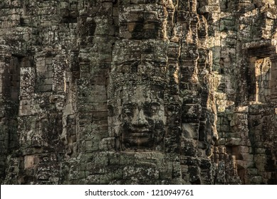 Faces of Bayon temple in Cambodia